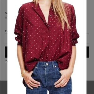 Madewell Red Shirred Popover Shirt In Microdot